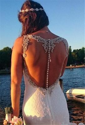 Sexy Sheer Back Mermaid Lace Wedding Dress 20116 Crystals Beading Bride Dress_3
