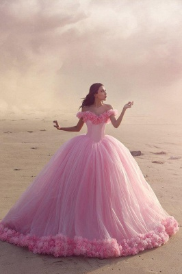 Sweet 16 Quinceanera Dresses Off The Shoulder Corset Canfy Pink Wedding Dress with Flowers BA3070_3
