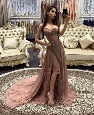 Sexy A-line Prom Dresses  Layers Side-Slit Straps Long Evening Gowns CD0066_1