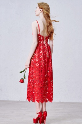 Red Spaghetti Strap Tea Length Lace Prom Dress Latest Sleeveless Zipper Evening Gowns_3