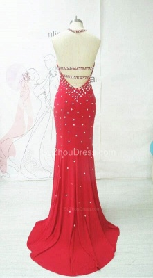 Sexy Red Prom Dress Beadings Backless Mermaid Womens Evening Dress_2