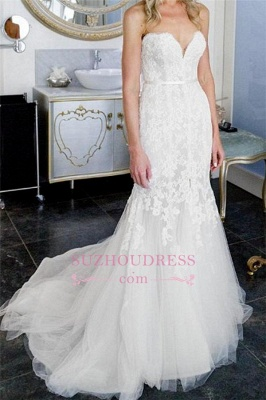 Appliques Open-Back Sweetheart Tulle Sleeveless Sheath Front-Slit Lace Wedding Dress_1