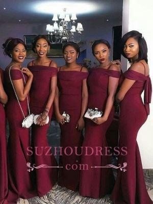 Burgundy Off-The-Shoulder Mermaid Bridesmaid Dresses  Simple Party Dresses_1