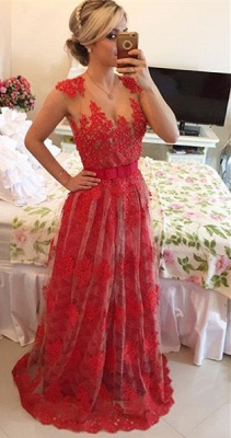 Popular A-Line Beadings Tulle Lace Evening Dress Custom Made Open Back Formal Occasion Dresses_1