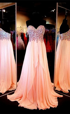 Chiffon Peach Sweetheart Crystal Long Prom Dresses Formal Rhinestone Designer Floor Length Evening Dress for Women_1