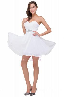 Short Chiffon Crystal Elegant Sweetheart White Homecoming Dress_6