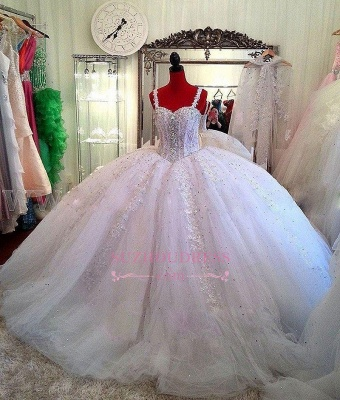 Beading Sparkly Puffy Ball Gown Bride Dress  Ceystals Lace Straps Luxurious Wedding Dress_1