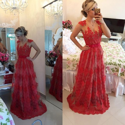 Popular A-Line Beadings Tulle Lace Evening Dress Custom Made Open Back Formal Occasion Dresses_2