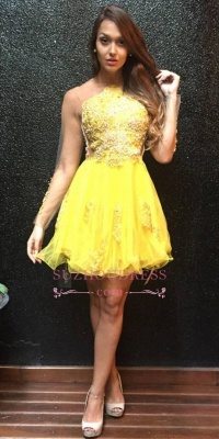 Appliques Mini Sweet Ruffles Yellow Sleeves Long Homecoming Dress_2