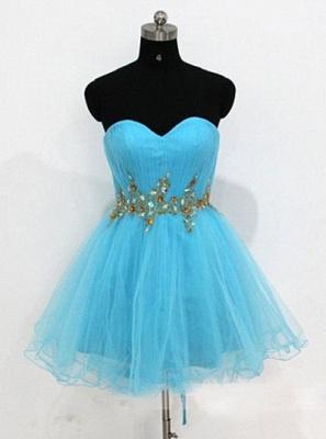 Blue Homecoming Dresses One Shoulder Long Sleeve Crysatl Ruched A Line Organza Cocktail Dresses_1
