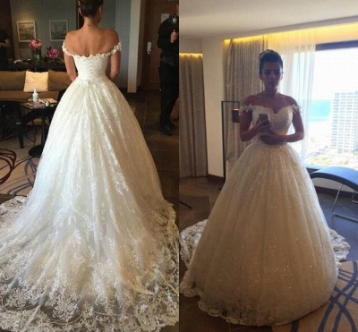 New Arrival Off the Shoulder Ball Gown Wedding Dress Crystal Lace Bridal Gown_3
