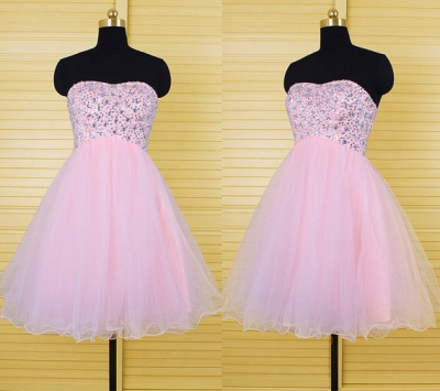 Cute Pink Crystal Mini Homecoming Dress New Arrival Sweetheart Organza Lace-Up Short Cocktail Dress_3