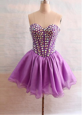Latest Crystal Sweetheart Short Homecoming Dress Popular Lace-Up Mini Special Occasion Dresses_5