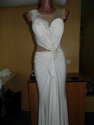 Sexy Mermaid Bowknot Long Wedding Dress with Beadings Nwe Arrival Evening Dress_2