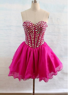 Latest Crystal Sweetheart Short Homecoming Dress Popular Lace-Up Mini Special Occasion Dresses_4