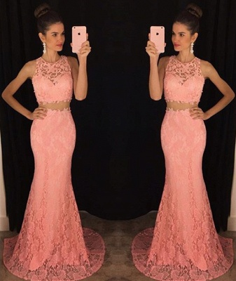 Elegant Two Piece Lace  Prom Dress Latest Simple Formal Occasion Dresses BA3869_5