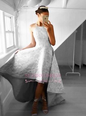 Elegant Sleeveless A-line Hi-Lo Halter Lace Prom Dresses_1