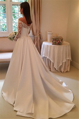 Off-the-Shoulder Long-Sleeves Wedding Dresses | Lace A-Line Bridal Gowns WW0109_3