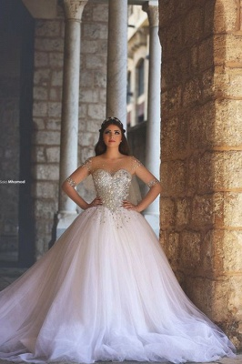 Long Sleeve Crystal Tulle Bridal Gown Latest Beading Ball Gown Wedding Dress_3