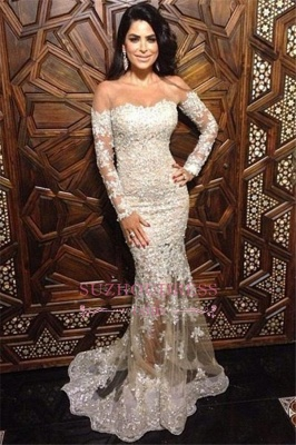 Off The Shoulder Formal Dress  Charming Illusion Appliques Long Sleeve Lace Mermaid Sexy Evening Dress_3