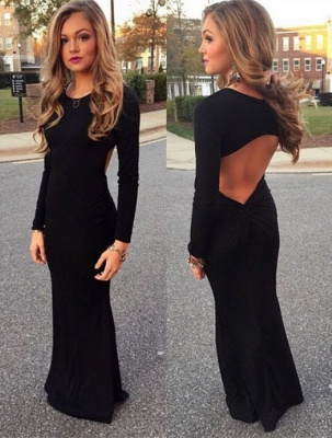 Black Long Sleeve Prom Dresses New Arrival Floor Length Party Gowns BA3862_3