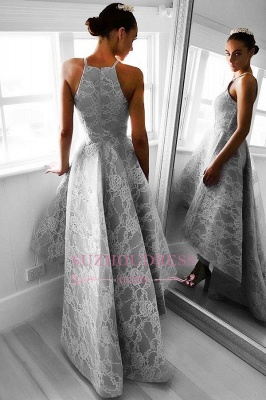 Elegant Sleeveless A-line Hi-Lo Halter Lace Prom Dresses_3