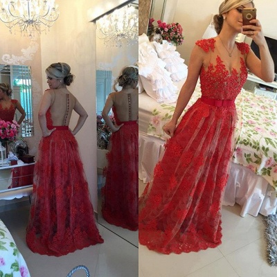 Popular A-Line Beadings Tulle Lace Evening Dress Custom Made Open Back Formal Occasion Dresses_3