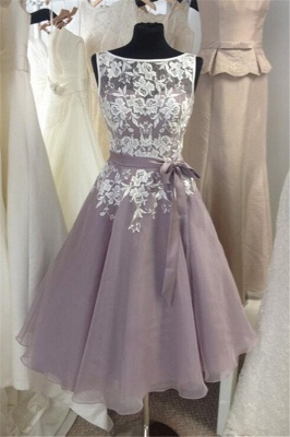 White Lace Tea Length  Bridesmaid Dresses  Organza Party Dress with Ribbon_1