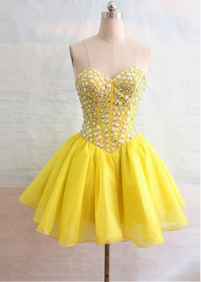 Latest Crystal Sweetheart Short Homecoming Dress Popular Lace-Up Mini Special Occasion Dresses_1