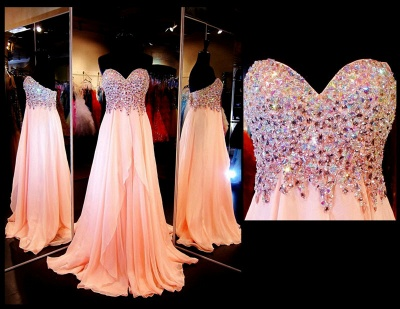 Chiffon Peach Sweetheart Crystal Long Prom Dresses Formal Rhinestone Designer Floor Length Evening Dress for Women_2