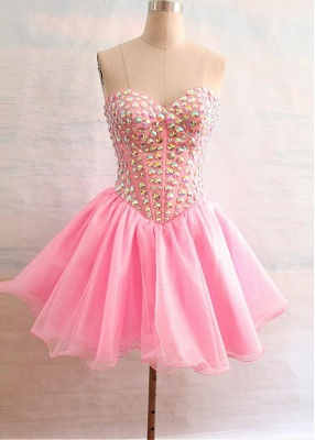 Latest Crystal Sweetheart Short Homecoming Dress Popular Lace-Up Mini Special Occasion Dresses_3