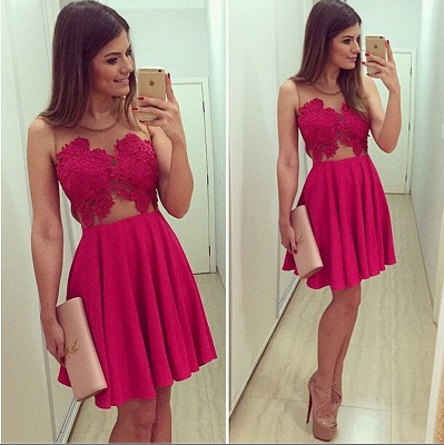 Red Lace Mini Homecoming Dress Simple Chiffon Plus Size Cocktail Dresses_2