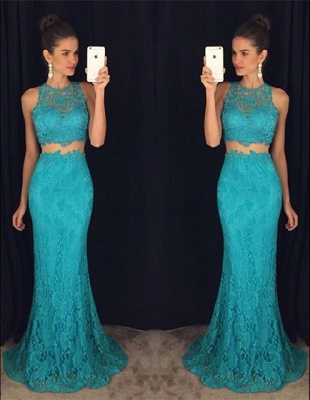 Elegant Two Piece Lace  Prom Dress Latest Simple Formal Occasion Dresses BA3869_4