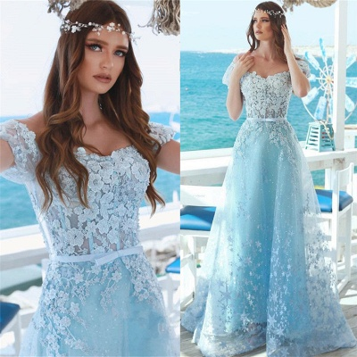 Affordable A-Line Off-the-Shoulder Lace Prom Dress Baby Blue Appliques Evening Dresses Online_3
