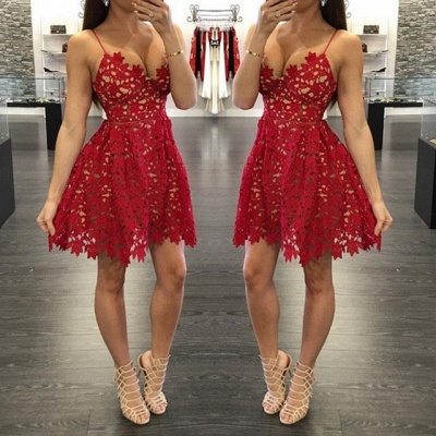 Sexy Red Lace Short  Homecoming Dresses New Arrival Saghetti Strap Summer Gowns BA3261_3