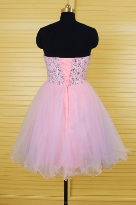 Cute Pink Crystal Mini Homecoming Dress New Arrival Sweetheart Organza Lace-Up Short Cocktail Dress_2