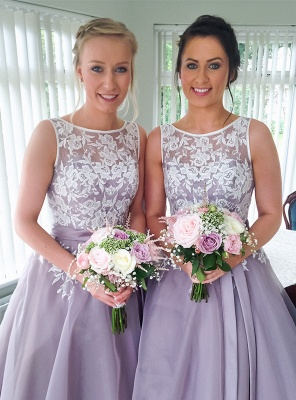 White Lace Tea Length  Bridesmaid Dresses  Organza Party Dress with Ribbon_2