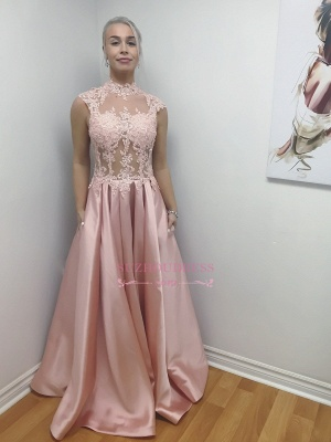 Pink Illusion Bodice High-Neck A-Line Long Lace-Applique Chic Prom Dresses_1