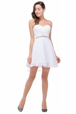 Short Chiffon Crystal Elegant Sweetheart White Homecoming Dress_4