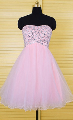 Cute Pink Crystal Mini Homecoming Dress New Arrival Sweetheart Organza Lace-Up Short Cocktail Dress_1