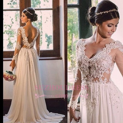 Elegant Open Back A-line Lace Bridal Gowns  V-neck Chiffon Wedding Dress_1