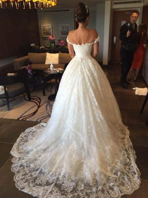New Arrival Off the Shoulder Ball Gown Wedding Dress Crystal Lace Bridal Gown_1