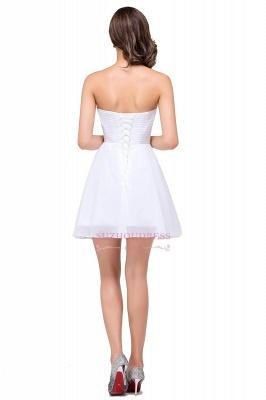 Short Chiffon Crystal Elegant Sweetheart White Homecoming Dress_3