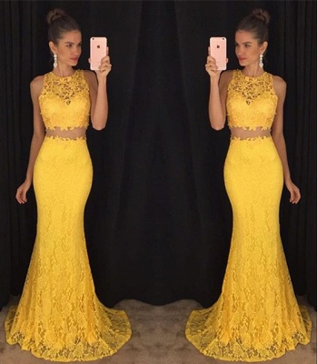 Elegant Two Piece Lace  Prom Dress Latest Simple Formal Occasion Dresses BA3869_3