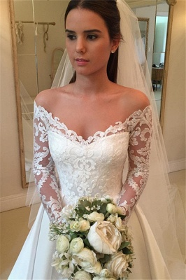 Off-the-Shoulder Long-Sleeves Wedding Dresses | Lace A-Line Bridal Gowns WW0109_4