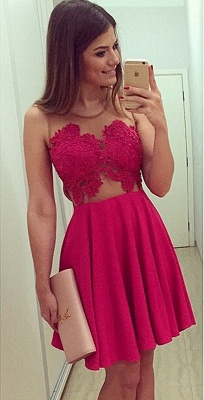 Red Lace Mini Homecoming Dress Simple Chiffon Plus Size Cocktail Dresses_1