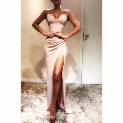 Spaghetti-Strap  Mermaid Elegant Prom Dress Onlinees | Sleeveless Side Slit Evening Gowns | Suzhoudress UK_3