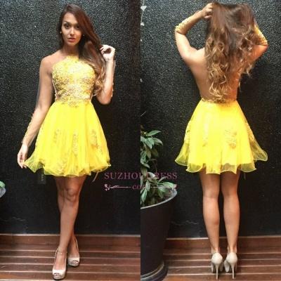 Appliques Mini Sweet Ruffles Yellow Sleeves Long Homecoming Dress_1