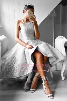 Elegant Sleeveless A-line Hi-Lo Halter Lace Prom Dresses_4