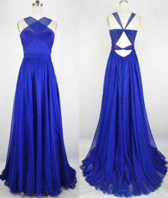 Sexy Popular Royal Blue Evening Dress Chiffon Backless Long  Prom party Dress with Open Back_1
